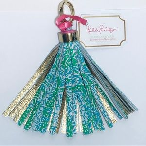 🆕Lilly Pulitzer Printed Leather Tassel Keychain